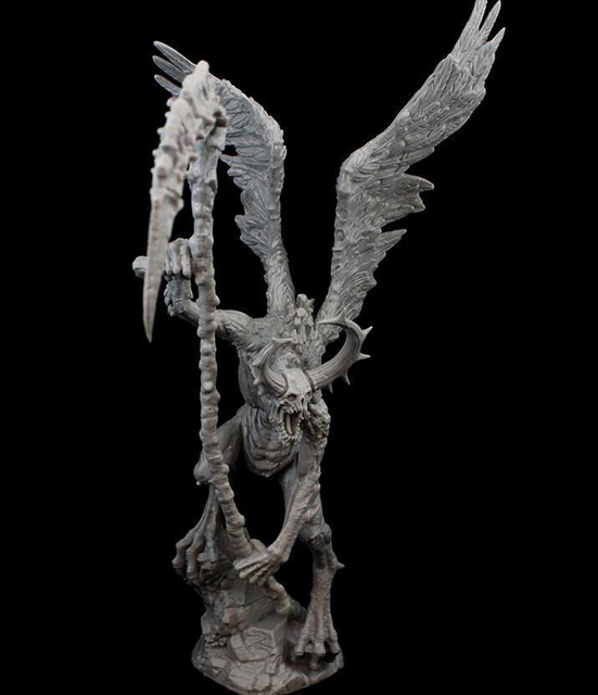 Resin Figure Model Kit Unassambled 230mm ancient fantasy warior stand with wing (WITH BASE )     Unpainted collect Figure 2