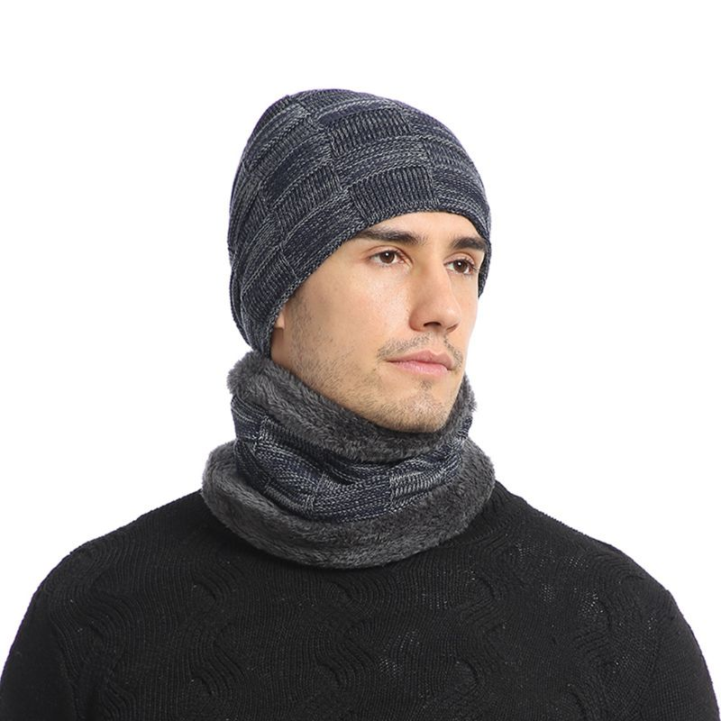 Unisex Winter Jacquard Plaid Knit Beanie Hat Scarf Set Ski Skull Cap Neck Warmer 40JF