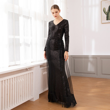 Full Sleeved Striped Sequined V Neck Maxi Dress Patchowrk Stretchy Hollow Out Long Party Dress with Tassel Mesh Trains Skrit v neck long sleeved abstract striped slimming dress
