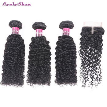 Lynlyshan Human Hair Malaysian Kinky Curly Hair Weave Bundles With Closure Natural Color Remy Hair Free Shipping цена 2017