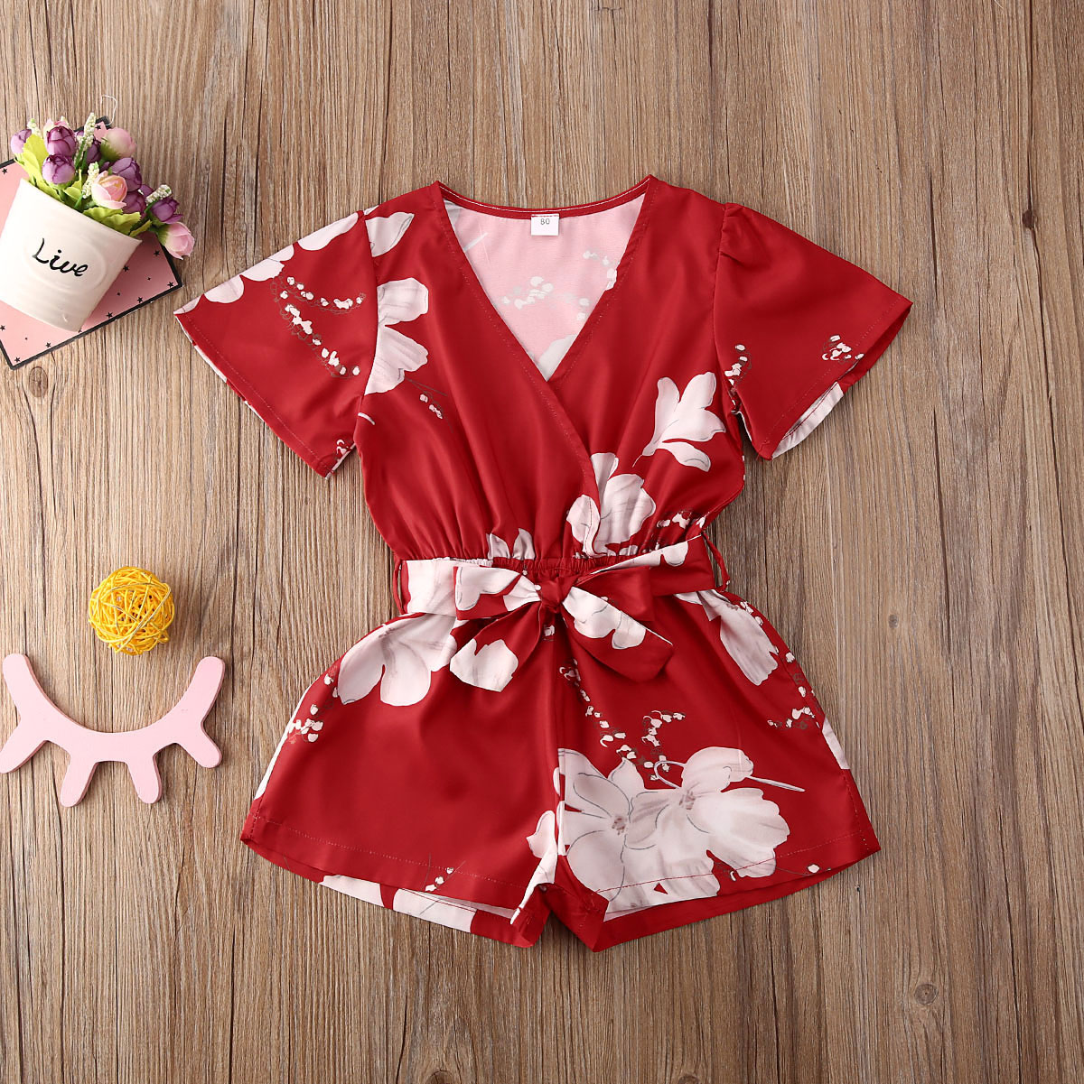 Pudcoco Toddler Baby Girl Clothes Flower Print Short Sleeve Romper Jumpsuit One-Piece Outfit Sunsuit Clothes