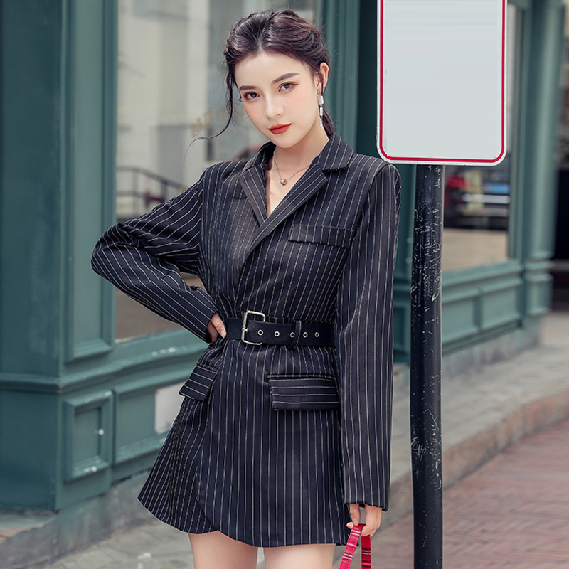 Women Simple Striped Suit Blazer 2020 Autumn New French Long Blazers Thin Wild Long-sleeved Top With Belt Strap Long Tops