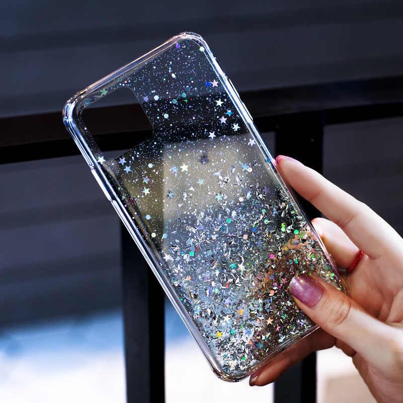 فاخر بلينغ بريق الهاتف حقيبة لهاتف أي فون 11 برو X XS ماكس XR لينة غطاء سيليكون آيفون 7 8 6 6S زائد حالات شفافة كابا