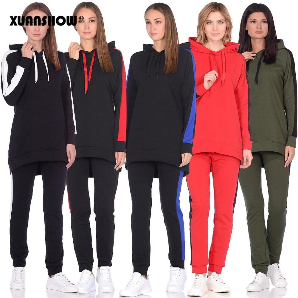 XUANSHOW 2019 Autumn Winter Women Tracksuit Long Sleeve Long Hoodies+Pants Two Piece Set Outfit Women Suit Chandal Mujer 2 Pieza