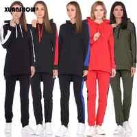 Xuanshow 2019 outono inverno feminino agasalho manga comprida hoodies + calças de duas peças conjunto roupa feminina terno chandal mujer 2 pieza