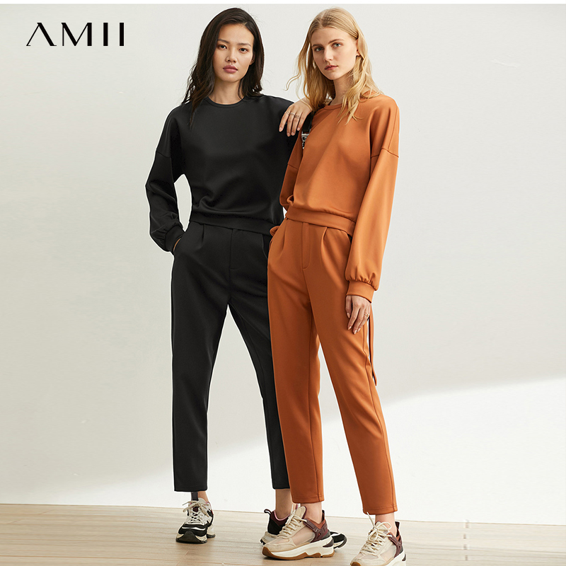 Amii  Western-style Girl European Clothing Casual Pants Set Women Spring New Fashion Solid Oneck Suit 11940368