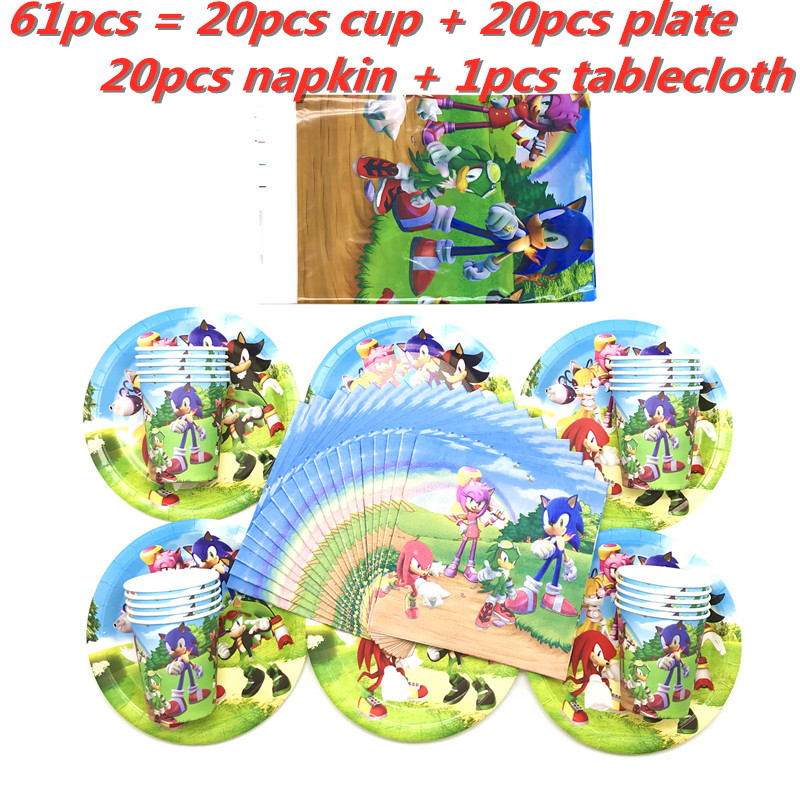 Sonic The Hedgehog Theme Kids Birthday Party Decorations Disposable Tableware Paper Cup Plate Napkin Tablecloth Party Supplies Disposable Party Tableware Aliexpress