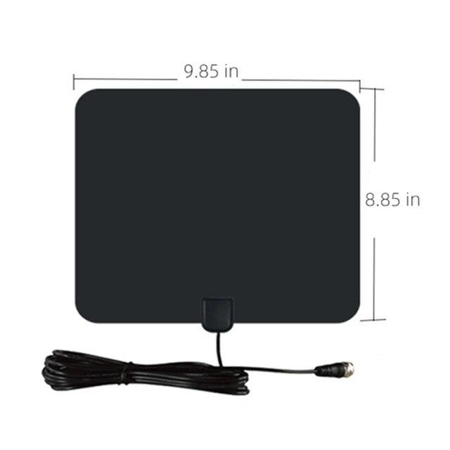 Antena telewizyjna wewnętrzna 25DB o wysokiej mocy HD TV DTV Box cyfrowa antena telewizyjna ue wtyczka 50 mil Booster aktywna wewnętrzna antena HD płaska konstrukcja