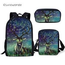 ELVISWORDS 3PC Set Kids School Backpack Fantasy Deer Pattern Book Bags Cute Animal Fashion Backpack/Flaps Bag/Pen