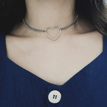 Power-Necklaces Heart-Shaped Wholesale Women Metal for Simplicity Sexy Hollowing-Out