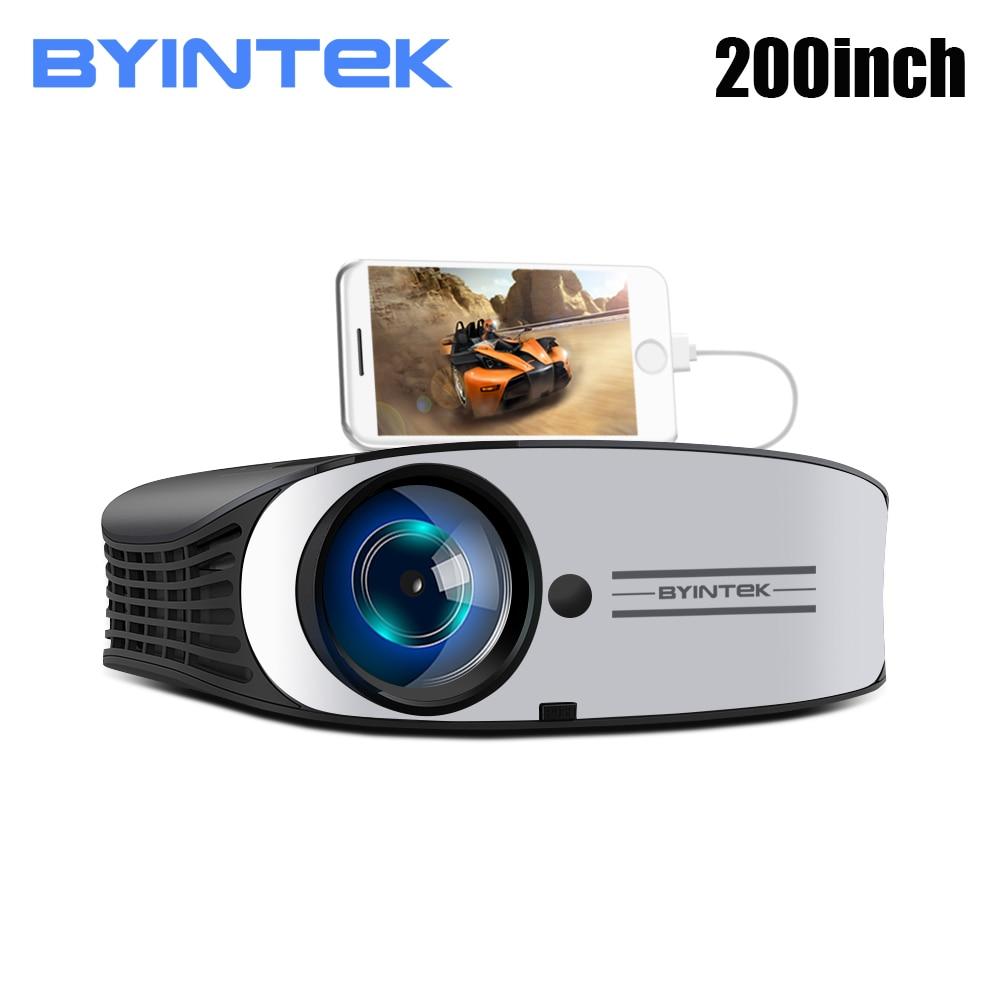 BYINTEK M7 HD Video projektor LED, 200 cala Full HD 1080P kino domowe, dla Iphone life Smart Phone, LED 30000 godzin