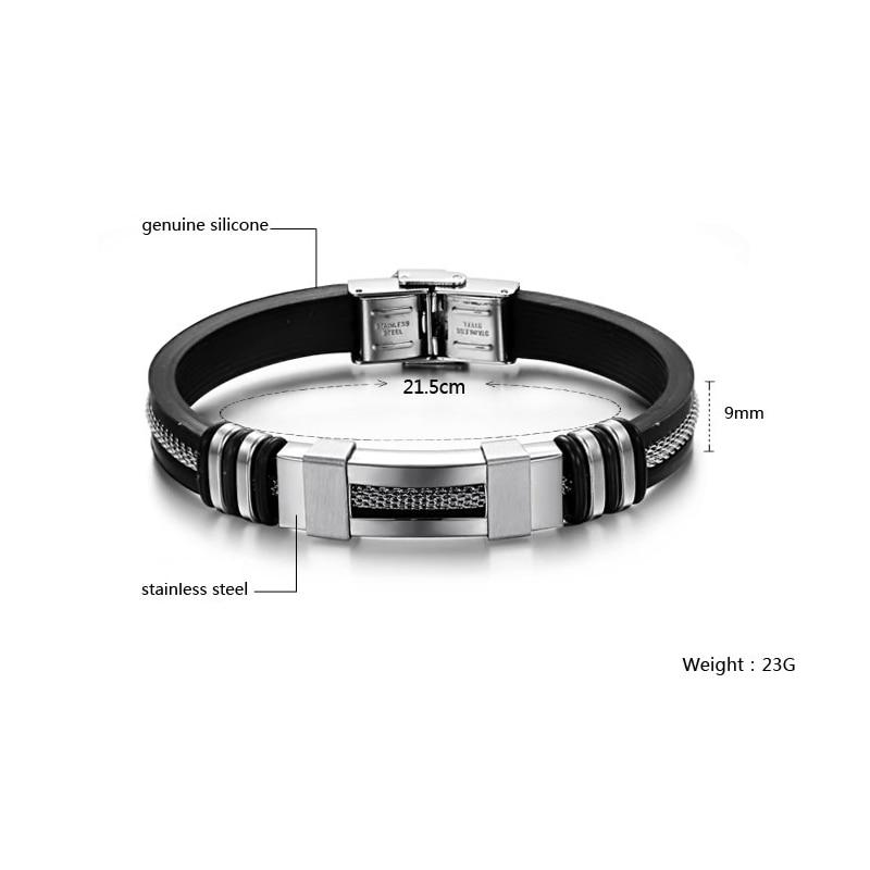 4 Color Stainless Steel Silicone Bracelet Men Jewelry WristBand Punk Style New Design Men Bracelet Rubber Charm Pulsera Hombre