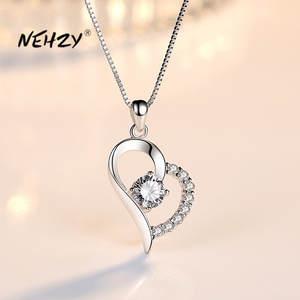 NEHZY, серебро 925 пробы, новинка, женские модные ювелирные изделия, высокое качество, Фиолетовый Кристалл, циркон, сердце, кулон, ожерелье, длина...