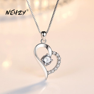 NEHZY 925 Sterling Silver New Woman Fashion Jewelry High Quality Purple Crystal Zircon Heart Pendant Necklace Length 45CM
