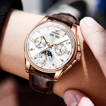 OUPINKE Men Mechanical Watch Luxury Automatic Watch Leather Sapphire Waterproof Sports Moon Phase Wristwatch Montre homme 5