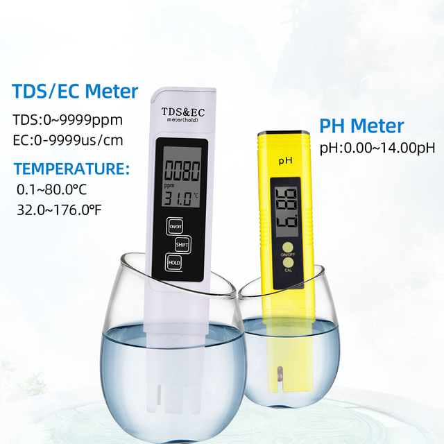 Digital ph tds ec meter tester  thermometer pen water purity  ppm filter hydroponic for aquarium pool water monitor 40% off