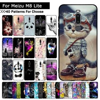 Перейти на Алиэкспресс и купить Чехол для телефона для Meizu M8, мягкий силиконовый чехол с цветами для Meizu M8 Lite, чехол из ТПУ, чехол для телефона s для Meizu X8, Fundas