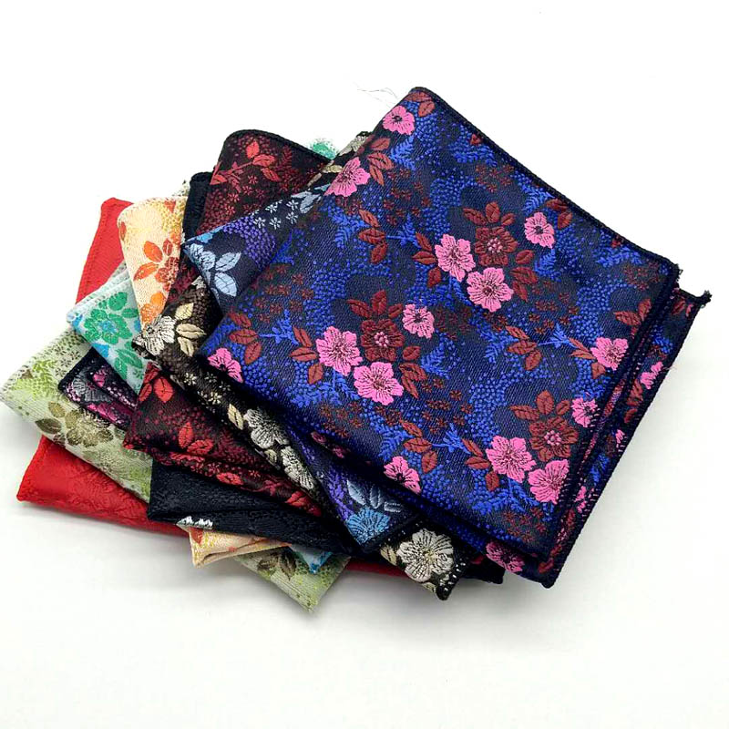 Men's Pocket Square Fashion Handkerchief Flower Floral Hanky Men Suit Chest Towel Accessories For Business Wedding Party Gift