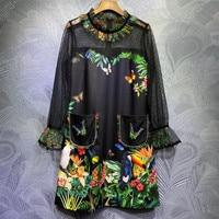 2020 Autumn Fashion women's lace patchwork dress High quality runways floral print O neck pockets dress C381