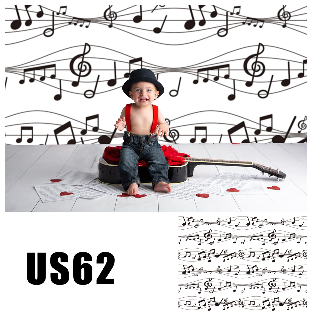 HUAYI Photography Backdrop Music Staff Vinyl Background Red Black and White Photo Booth Party Portraits Props US62 image