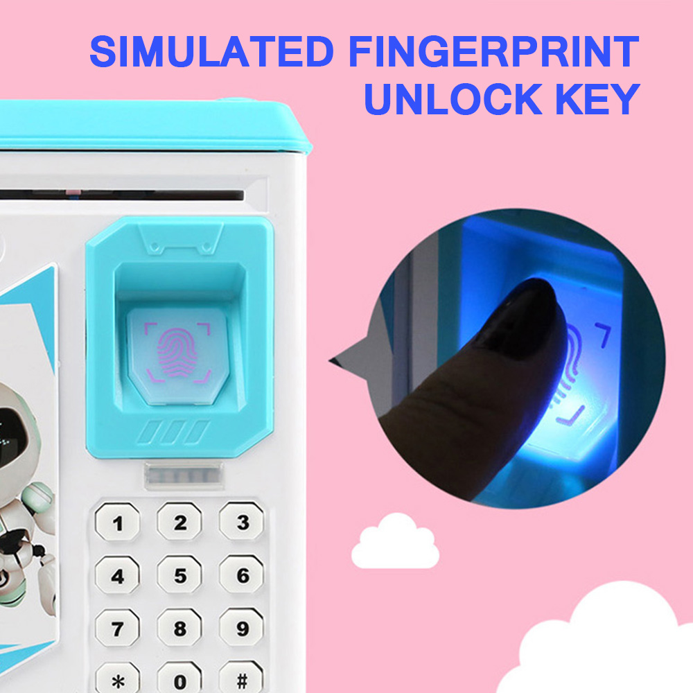 Bank ATM Password Money Box Cash Coin Saving Box For Kids Birthday Christmas Gift New Fingerprint Electronic Piggy