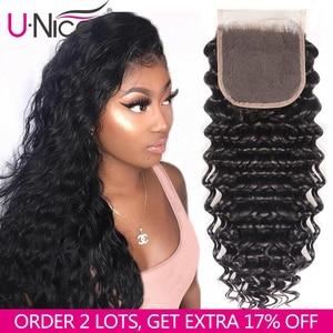 Image 1 - Unice cabelo brasileiro onda profunda fechamento do laço 10 20 Polegada parte do meio livre 4x4 laço suíço fechamento do cabelo humano remy cabelo