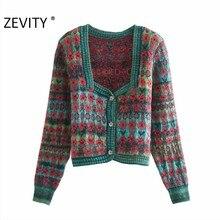 Zevity – cardigan en tricot à manches longues pour femme, Vintage, col carré, couleur contrastée, imprimé floral, Chic, manteau, S540