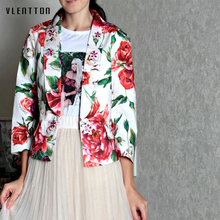 2019 New vintage Blazer Women Diamonds Print Long Sleeve Elegant flower Ladies Blazer Spring autumn Short Female Jacket Blazer blazer trussardi blazer
