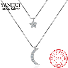 YANHUI New Trendy Moon&Star Crystal Pendant Necklace Fashion Multilayer Ladies Chain Women Accessories Jewelry DZ181