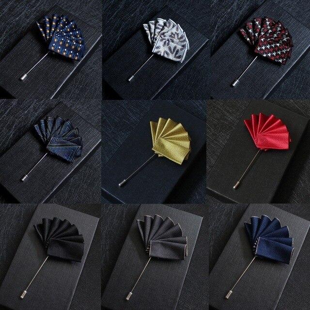 Мужской костюм нагрудный карман рубашка булавка брошь корейский Свадебный банкет представление одежда аксессуары веер цветок броши