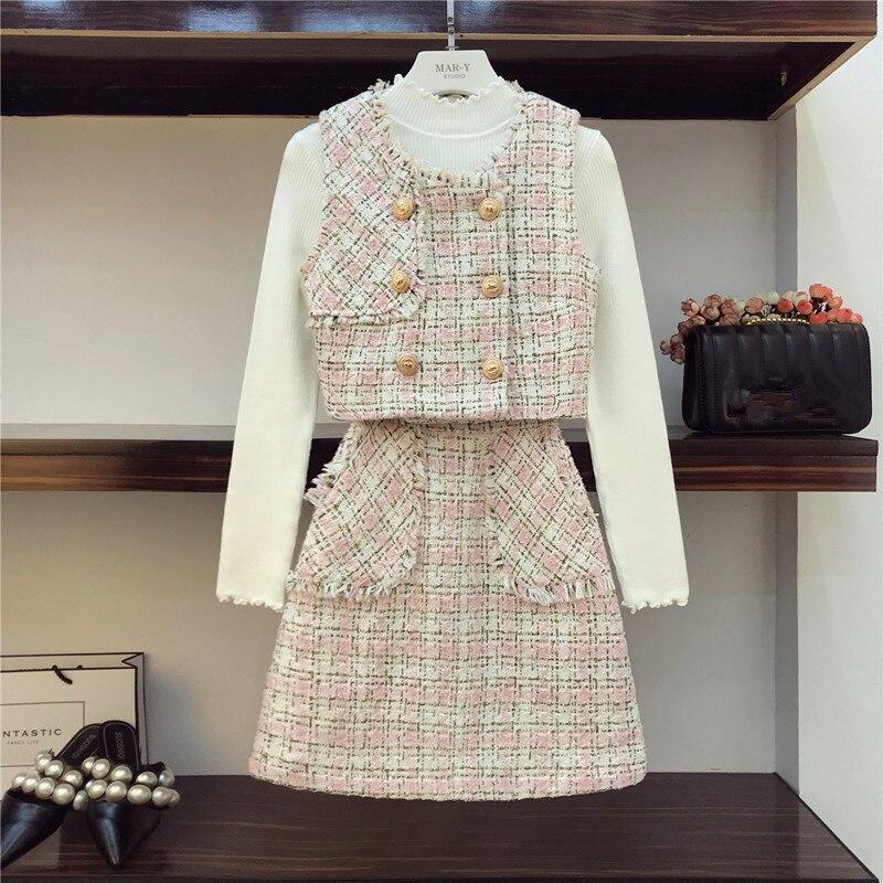 Fashion Pink Plaid Tweed 3 Piece Set Autumn Winter Blends Wool Tassel Button Short Vest+White Sweater + Mini Pocket Skirt Set