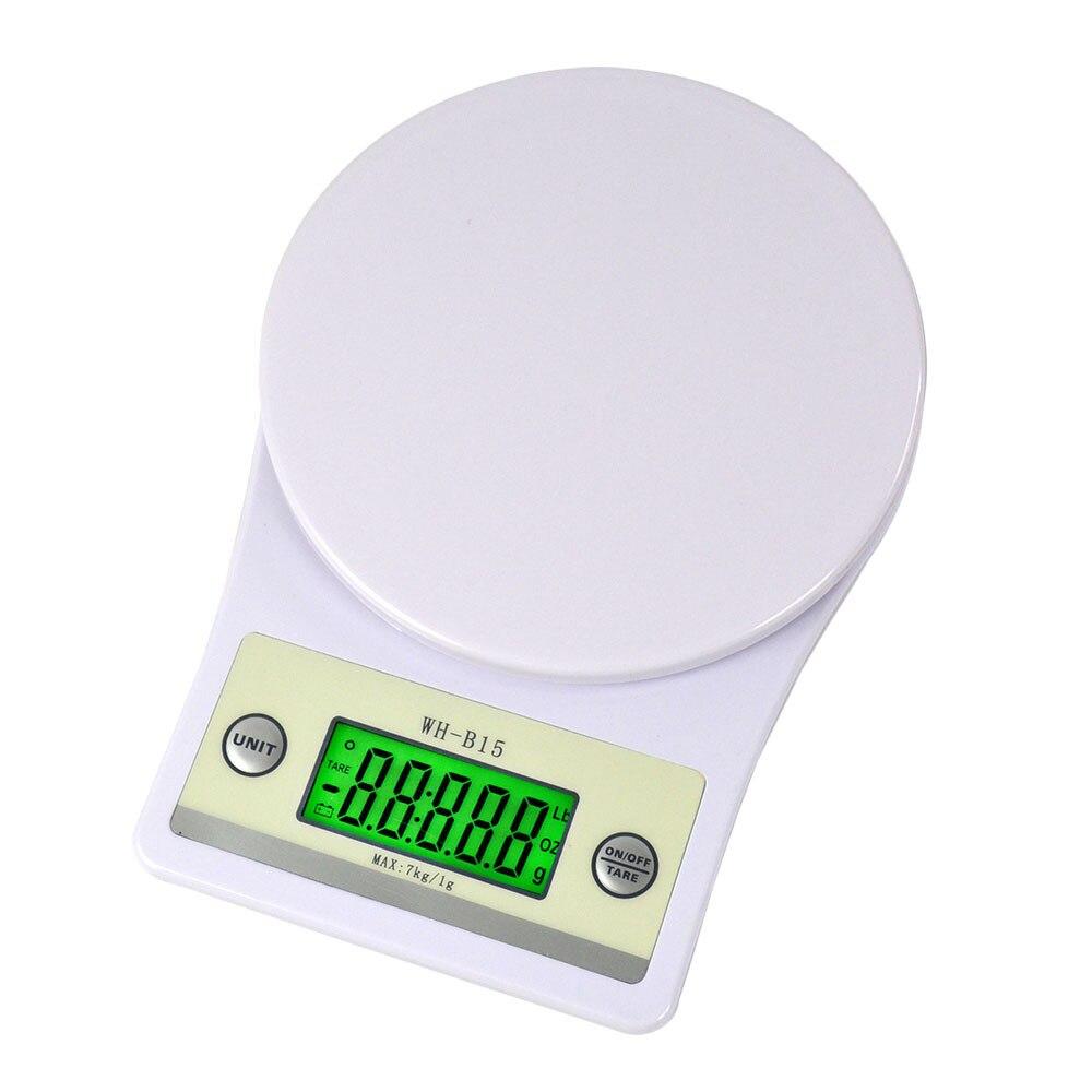Aletler'ten Tartılar'de 7kg 1g dijital mutfak terazisi taşınabilir gıda ölçeği çok fonksiyonlu elektronik LCD Mini ölçme aracı ağırlık dengesi ölçekli Gadget title=