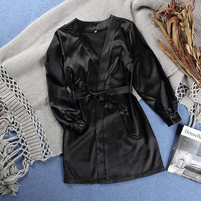 Платье HiLoc женское атласное с длинным рукавом-фонариком, пикантная одежда для сна бордового цвета, однотонная одежда для осени, черный и белый цвета