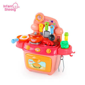 Infant Shining Children Kitchen Toy Set 12PCS Girls Toy Cooking Play Food Pretend Play Miniature Cooking Kitchen Set Kids Gift