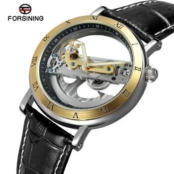 2019 FORSINING New Fashion Luxury Top Brand Golden Bridge Skeleton Automatic Mechanical Stainless Steel Strap Men Wrist Watch