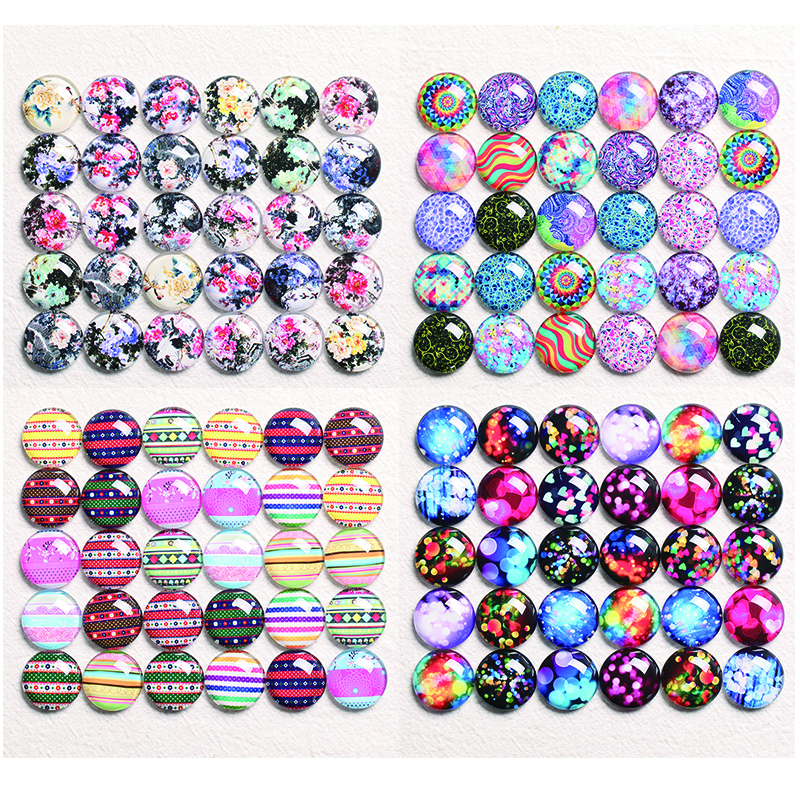 10-30pcs 10mm-30mm Round Handmade Picture Photo Glass Cabochons Base Setting Jewelry Charms Accessory Stripe