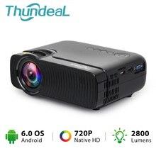 ThundeaL TD30 Max projektör 1280*720 isteğe bağlı Android 6.0 WiFi Bluetooth HD Mini LED projektör 2800 lümen Video 3D HD projektör