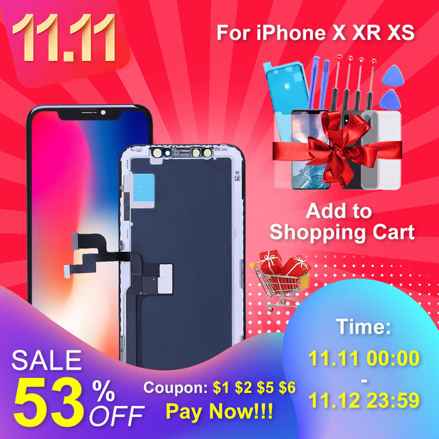Elekworld Grade For iphone X OLED XS XR TFT With 3D Touch Digitizer Assembly No Dead Pixel LCD Screen Replacement Display