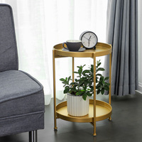 Nordic simple and simple double deck small tea table sitting room sofa corner bedroom bedside a few ins wind iron art small rou
