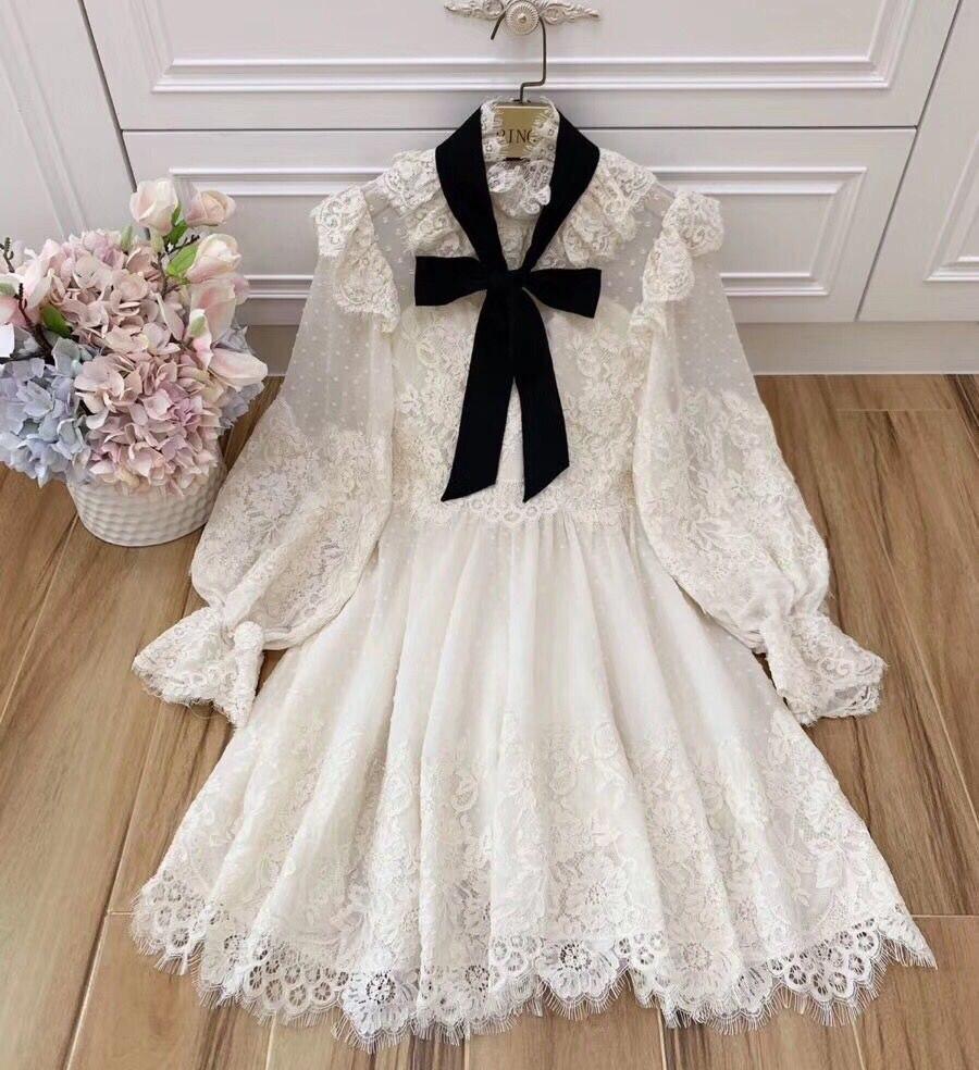 Vacances maille robes Stand Floral lanterne manches tempérament Slim Mini robe nouvelles femmes