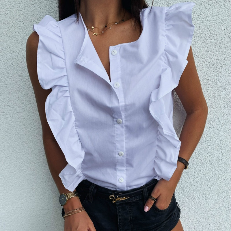 2020 Lotus Leaf Ruffles Round Neck Sleeveless Shirt Casual Button Plus Size White Blouse Women Office Work Slim Top Blusas Mujer