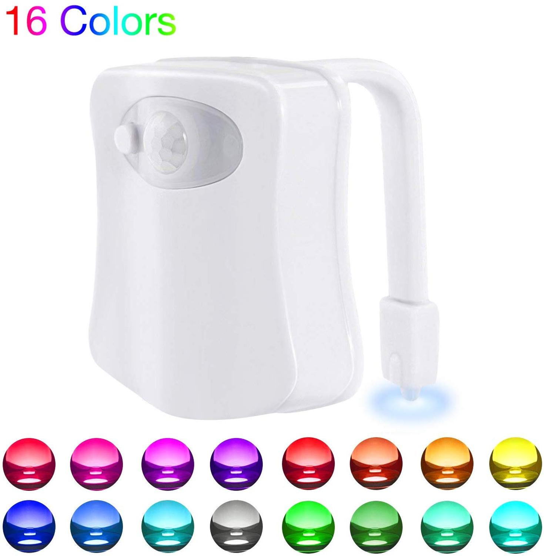 Туалет ночной Светильник движение-активированный 16 Цвет светодиодные сиденье для унитаза светильник 5-ти ступенчатый диммер движения