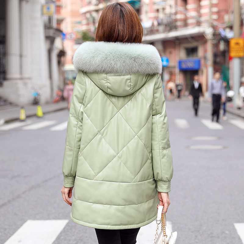 Genuine Leather Jacket Sheepskin Coat Women Clothes 2020 Fox Fur Collar Hooded Down Coat Winter Coat Women MFCM197581 YY2296