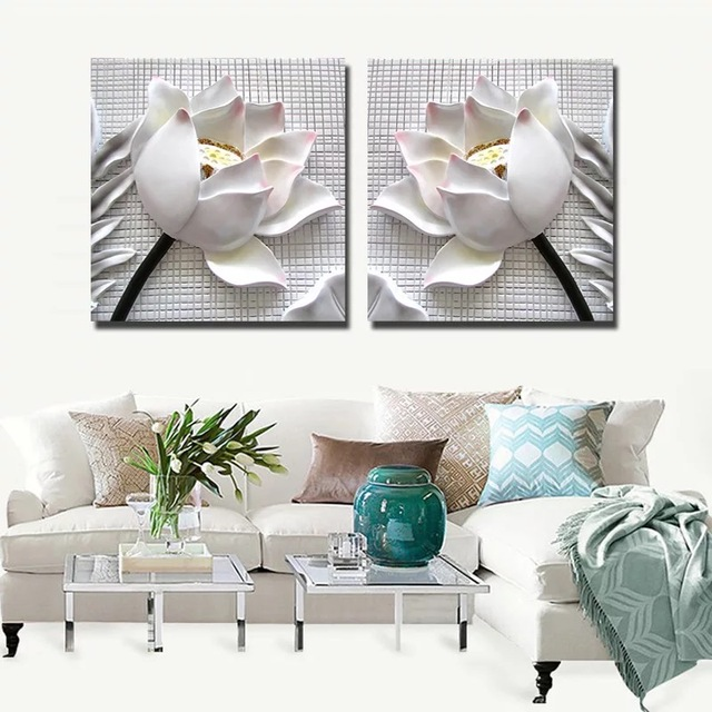 3D Lotus relief  Wall Art Print Painting  Canvas painting canvas printing Nordic Decorative Picture Modern Living Room Decor