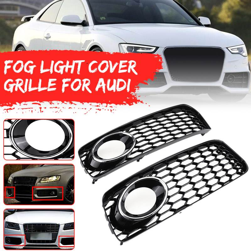 Areyourshop 2pcs Fog Light Grill Grille Black Trim For Au-di A5 S-Line S5 B8 RS5 2008-2012