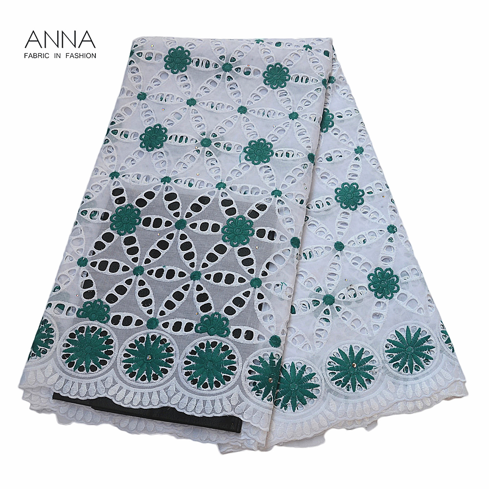 Newest Swiss Voile Lace Fabrics With Embroidery African Dry Lace Fabrics Punching Swiss Cotton Lace In Switzerland For Wedding