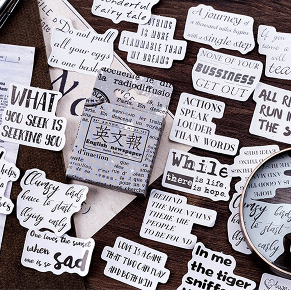 46 Pcs/Lot Cute Vintage English Newspaper Mini Paper Japan Sticker  For DIY Decoration Album Diary Scrapbooking Label Sticker
