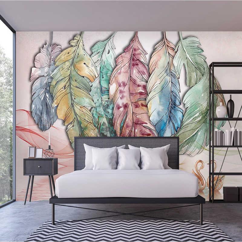 Nordic Abstrak Cat Air Feather Line Swan Seni 3D Besar Mural Foto Wallpaper Dinding Kain untuk Ruang Tamu Latar Belakang Dekorasi Rumah