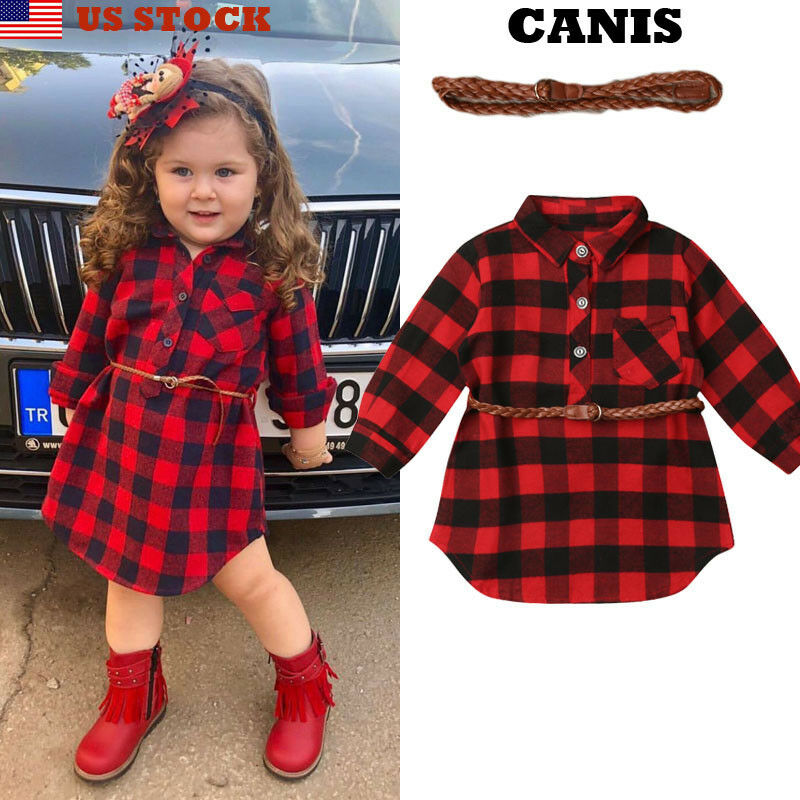 US Toddlers Kids Babys Girls Plaid Long Sleeve T-shirt Casual Top Outfit Clothes