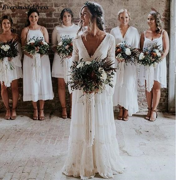 Image 2 - 2019 Lace Boho Wedding Dresses Long Sleeves A Line Backless Sweep Train Pleats Beach Bridal Gowns Bride Dress Vestido de noiva-in Wedding Dresses from Weddings & Events